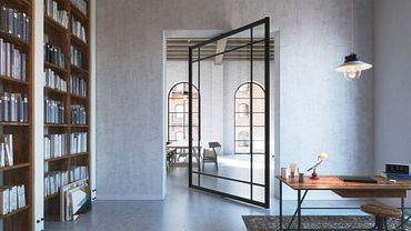 PortaPivot revolving door with Stealth Pivot hinges