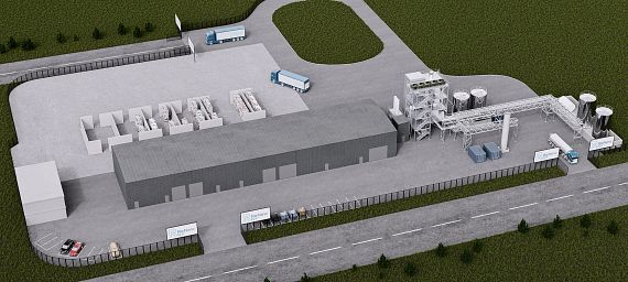 Model of the new HydroPRS plant at the industrial site Wilton International