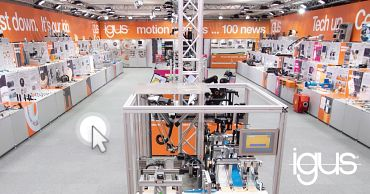 Service offers: virtual trade show, on-site exhibition, igus sample displays, customised sample packs