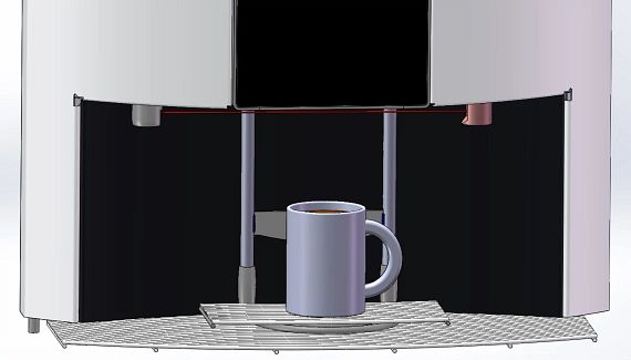 Mechanism for adjusting the cup tray's height, consisting of spindle and shaft end support