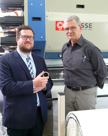 igus sales consultant Joachim Mayr and head of development at Gitec Roland Michel