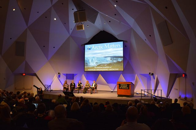 Image: Fulbright Arctic Scholar Gwen Holdmann speaks at Arctic Matters Day at the National Academy of Sciences.