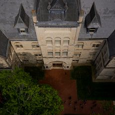 Kirkwood Hall is pictured from the air on a summer day at IU Bloomington on Thursday, June 6, 2019.