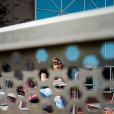 Student studying outside University Library at IUPUI on Monday, September 22, 2020.