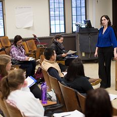 Alyssa Lederer talks to her class before an exercise on Wednesday, March 4, 2015, in Woodburn Hall. Lederer is a 2015 Distinguished Teaching Awards honoree.