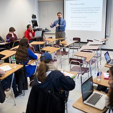 Daniel O'Neill speaks to his secondary education class on Wednesday, March 4, 2015, at the School of Education. O'Neill is a 2015 Distinguished Teaching Award honoree.