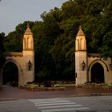 The Sample Gates are pictured on the Indiana University Bloomington campus on a summer evening on Friday, June 21, 2019.