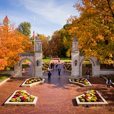 The Sample Gates is pictured from the air on the Indiana University Bloomington campus on Tuesday, Oct. 30, 2018.