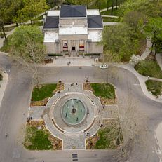 The Lilly Library, center top, and Showalter Fountain are pictured in the Arts Plaza at Indiana University Bloomington on Wednesday, May 2, 2018.