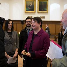 Indiana University Bloomington Provost and Executive Vice President Lauren Robel mingles after the State of the Campus address on Tuesday, March 3, 2015, in Presidents Hall at Franklin Hall.