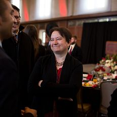 Lauren K. Robel, Provost and Executive Vice President, mingles with Adrian Matejka, an Assistant Professor in the Department of English, after the Dr. Martin Luther King Jr. Day Celebration Leadership Breakfast on Monday, Jan. 19, 2015, in Alumni Hall at the Indiana Memorial Union.