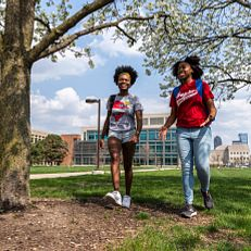 Marketing photo shoot near Wood Fountain at IUPUI on Tuesday, April 6, 2021.Physical-distancing guidelines were followed while capturing this photo.