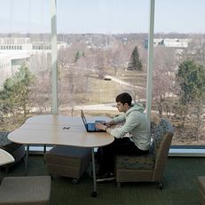 Lucas Richardson studies in a window overlooking campus on Wednesday, April 1, 2015, in the Franklin D. Schurz Library at Indiana University South Bend.