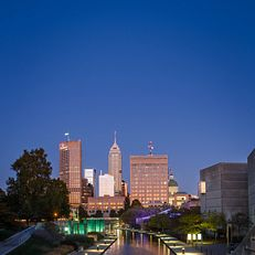 Sunset of the Indianapolis skyline from the Blackford Street bridge on IUPUI's campus. Photo taken Saturday, October 12, 2019.at IUPUI on Saturday, Oct. 12, 2019.