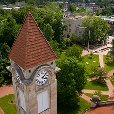 Frances Morgan Swain Student Building clocktower is pictured from the air on a summer day at IU Bloomington on Thursday, June 6, 2019.