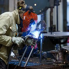 Herron welding student working on a project at the Eskanazi Fine Arts Center on Tuesday April 3, 2018.