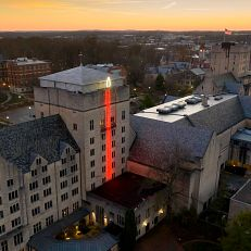 The Indiana Memorial Union is pictured from the air at IU Bloomington on Thursday, Nov. 19, 2020.