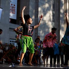 The African American Dance Company performs during First Thursdays Festival on the Arts Plaza at IU Bloomington on Thursday, Oct. 3, 2019.
