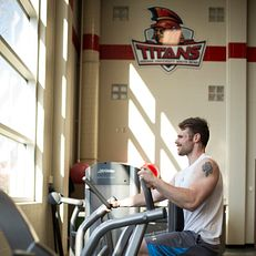 Andy Findley works out in the Student Activities Center gym on Wednesday, April 1, 2015, at Indiana University South Bend.