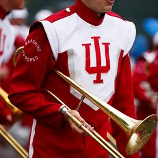 Members of the Indiana University Marching Hundred perform during the IU Bloomington Homecoming Parade on Friday, Oct. 11, 2019.