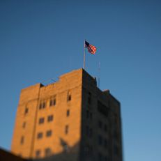 Evening light illuminates the tower of the Indiana Memorial Union on Thursday, July 30, 2015.