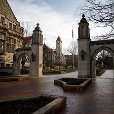 The Sample Gates and Student Building are pictured on a spring morning at IU Bloomington on Thursday, March 12, 2020.