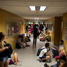 Students make their way to classes inside of Ballantine Hall during the first day of classes at Indiana University Bloomington on Monday, Aug. 24, 2015.