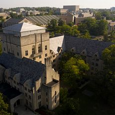 The Indiana Memorial Union is pictured from the air at IU Bloomington on Friday, Sept. 13, 2019.