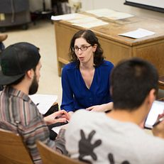 Alyssa Lederer answers a student question on Wednesday, March 4, 2015, in Woodburn Hall. Lederer is a 2015 Distinguished Teaching Awards honoree.