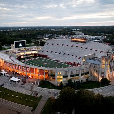 Memorial Stadium is pictured from the air at IU Bloomington on Thursday, Oct. 7, 2021. (Photo by James Brosher/Indiana University)