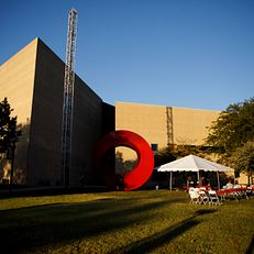 The Eskenazi Museum of Art at Indiana University is pictured in the evening light during the First Thursdays Festival on the Arts Plaza at IU Bloomington on Thursday, Oct. 3, 2019.