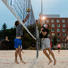IUPUI students take part in intramural sand volleyball at the CROF on Wednesday, September 16, 2020.