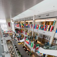 Campus Center with the international flags decorating the interior. Photo taken Monday, February 22, 2021 at IUPUI.
