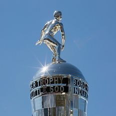 The Little 500 Borg-Warner Trophy awaits the winner of the Men's Little 500 on Sunday, April 26, 2015, at Bill Armstrong Stadium.