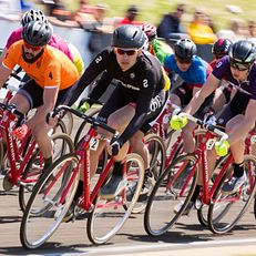 Sigma Phi Epsilon's Nick Torrance (2) leads the pack through turn two early during the Men's Little 500 on Sunday, April 26, 2015, at Bill Armstrong Stadium. Sigma Phi Epsilon won the race.