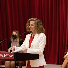 Indiana University announces the appointment of Pamela S. Whitten as the president elect of the university at IU Bloomington on Friday, April 16, 2021. Photo by Chris Meyer, Indiana University