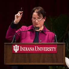 Indiana University Bloomington Provost and Executive Vice President Lauren Robel gives the State of the Campus address on Tuesday, March 3, 2015, in Presidents Hall at Franklin Hall.