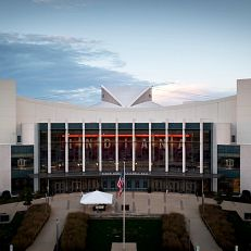 Simon Skjodt Assembly Hall is pictured from the air at IU Bloomington on Thursday, Oct. 7, 2021. (Photo by James Brosher/Indiana University)