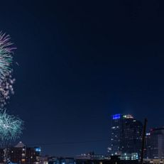 July 4th fireworks light up the Indianapolis skyline. The photo was taken from the roof of the Madam Walker Theatre on Sunday, July 4, 2021.(Photo by Liz Kaye/Indiana University)