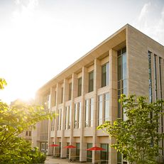 The exterior of the Paul H. O'Neill Graduate Center at the O'Neill School of Public and Environmental Affairs is pictured on a summer evening at IU Bloomington on Thursday, May 23, 2019.