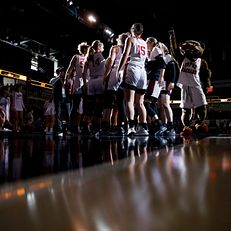 IUPUI players huddle before a semifinal of the Horizon League Women's Basketball Championship at Indiana Farmers Coliseum in Indianapolis on Monday, March 9, 2020.