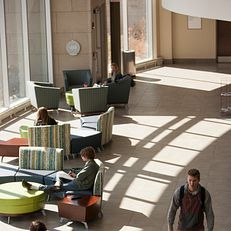 Students make their way through the Education and Arts Building on Wednesday, April 1, 2015, at Indiana University South Bend.