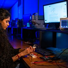 IUPUI graduate student Valli Shankar Kumar is pursuing her Ph.D. in Computer Engineering. Here she is testing an inverting Op-amp circuit in the Electrical & Computing Engineering Department at IUPUI. Photo was taken Tuesday, January 26, 2021.