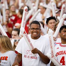 Students cheer during the Traditions and Spirit of IU at Memorial Stadium on Friday, Aug. 23, 2019.