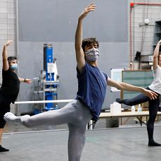 Ballet students practice in a makeshift socially-distant classroom space backstage at the Musical Arts Center (MAC) during the COVID-19 pandemic at the Jacobs School of Music on Thursday, Sept. 17, 2020.