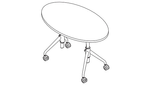 Ellipse Top (Fixed/Pin-Height Adjustable Leg)