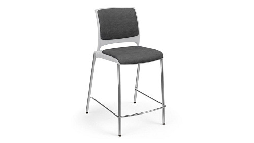 Cafe Stool with Upholstered Seat and Back