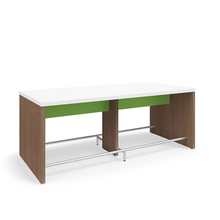 SerenadeGatheringTable CafeHeight 48x108 Contrast Stringer Footrest FrontAngle