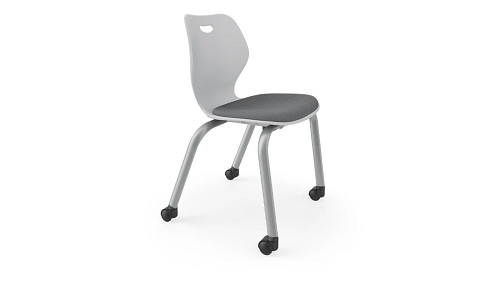 4-Leg Upholstered Chair with Casters