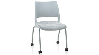 Doni Stack Chair | 4-Leg with Casters with Solid Shell (Upholstered Seat)